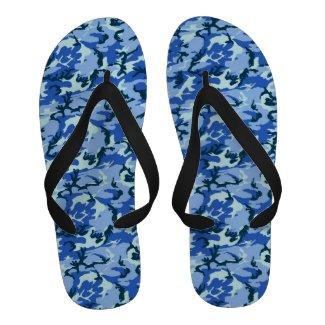 Woodland Blue Camouflage Background Sandals
