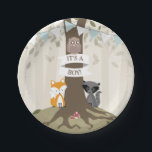 "Woodland Boy Baby Shower Paper Plate<br><div class=""desc"">Baby shower paper plates featuring an illustration of a tree with green leaves and exposed roots. A fox and raccoon sit at either side of the trunk and an owl sits on banner wrapped around trunk that says,  &quot;It&#39;s A Boy!&quot; Bunting is white and blue.</div>"