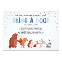 Woodland Bring a book card baby shower Boy Blue