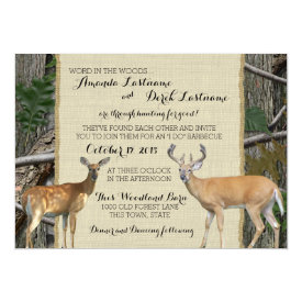 Woodland Buck and Doe Wedding 5x7 Paper Invitation Card
