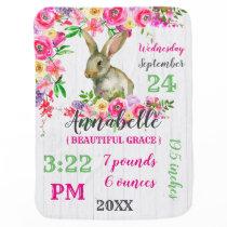 Woodland Bunny Rabbit Watercolor Floral Baby Monog Baby Blanket