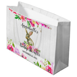 Woodland Bunny Rabbit Watercolor Floral Baby Showe Large Gift Bag