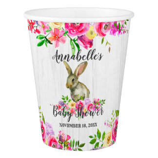 Woodland Bunny Rabbit Watercolor Floral Baby Showe Paper Cup