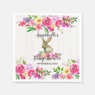 Woodland Bunny Rabbit Watercolor Floral Baby Showe Paper Napkin