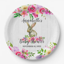 Woodland Bunny Rabbit Watercolor Floral Baby Showe Paper Plate
