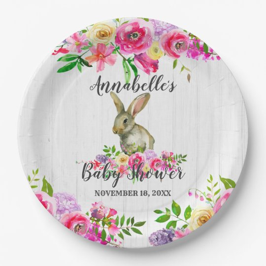Woodland Bunny Rabbit Watercolor Floral Baby Showe Paper Plate  sc 1 st  Zazzle & Woodland Bunny Rabbit Watercolor Floral Baby Showe Paper Plate ...