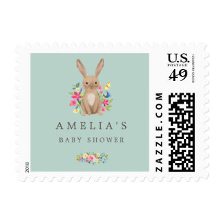 Woodland Bunny Sweet Baby Shower Stamp