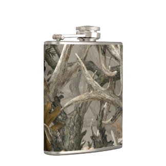 Woodland camo deer antler flask
