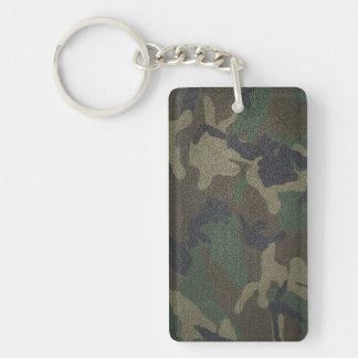 Woodland Camo Fabric Double-Sided Rectangular Acrylic Keychain