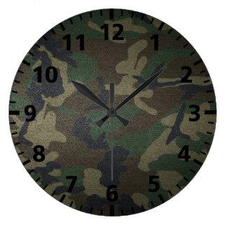 Woodland Camo Fabric Large Clock