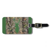 Woodland camo green deer head bag tag