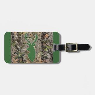 Woodland camo green deer head bag tag