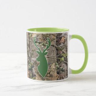 Woodland camo green deer head mug