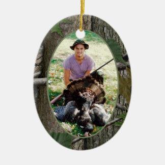 Woodland Camo Hunting Photo Ceramic Ornament