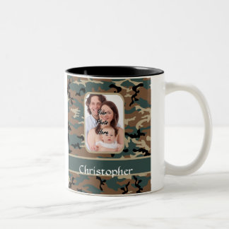 Woodland camo pattern Two-Tone coffee mug