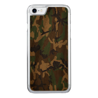 Woodland Camo Real Wood Carved iPhone 7 Case
