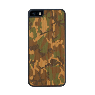 Woodland Camo Real Wood Case Carved® Cherry iPhone 5 Slim Case