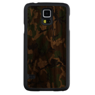 Woodland Camo Real Wood Case Carved® Walnut Galaxy S5 Case