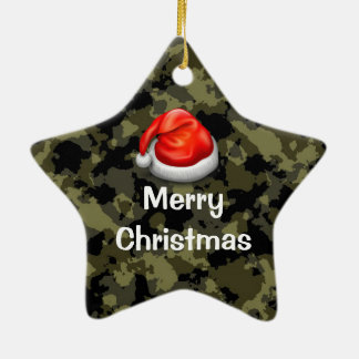 woodland camo star merry christmas ornament