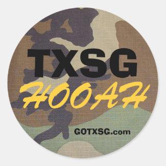 woodland camo TXSG, HOOAH, GOTXSG.com Classic Round Sticker