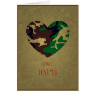 Woodland Camo  Valentine Hearts - Valentine's Day Card