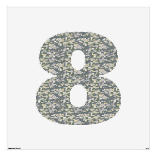 Woodland Camo Wall Decal Number Eight-Large