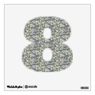 Woodland Camo Wall Decal Number Eight-Small