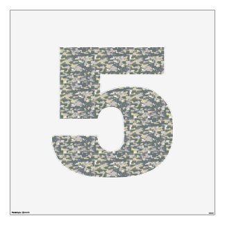 Woodland Camo Wall Decal Number Five-Large