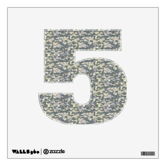 Woodland Camo Wall Decal Number Five-Small
