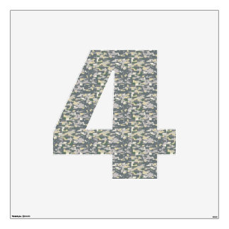 Woodland Camo Wall Decal Number Four-Large