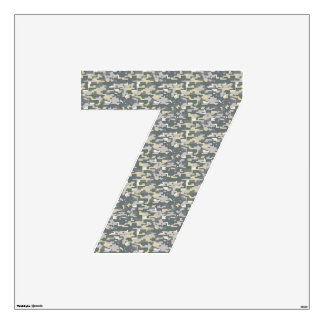 Woodland Camo Wall Decal Number Seven-Large
