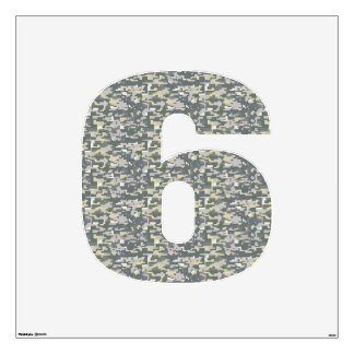 Woodland Camo Wall Decal Number Six-Large