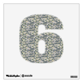 Woodland Camo Wall Decal Number Six-Small