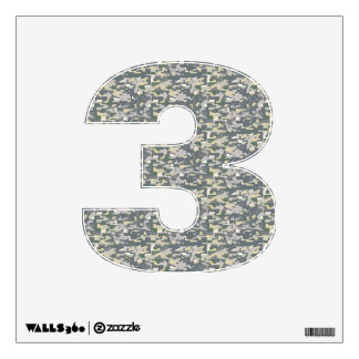 Woodland Camo Wall Decal Number Three-Small