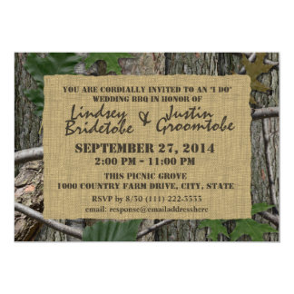 Woodland Camouflage and Burlap I Do Barbecue 5x7 Paper Invitation Card