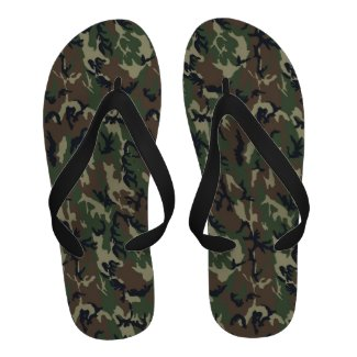 Woodland Camouflage Background Flip-Flops