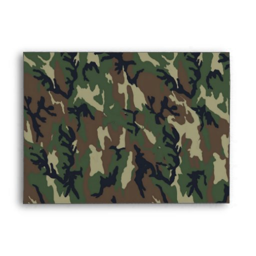 Woodland Camouflage Background Template Envelope
