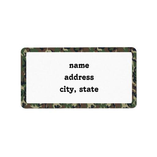 Woodland Camouflage Background Template Address Label