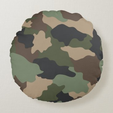 Woodland Camouflage Camo Khaki Green Tan Black Round Pillow