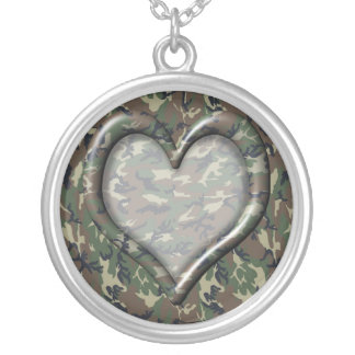 Woodland Camouflage Heart Round Pendant Necklace