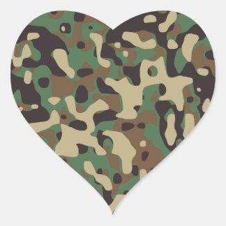 Woodland Camouflage Heart Sticker