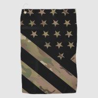 Woodland Camouflage I Flag Golf Towel