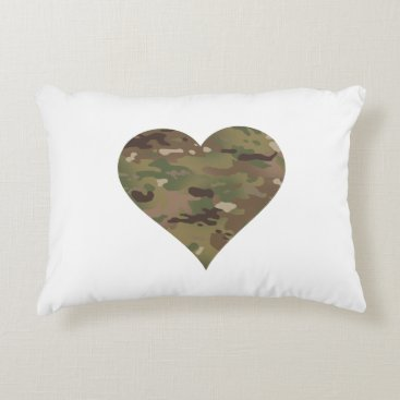 Woodland Camouflage I Heart Accent Pillow