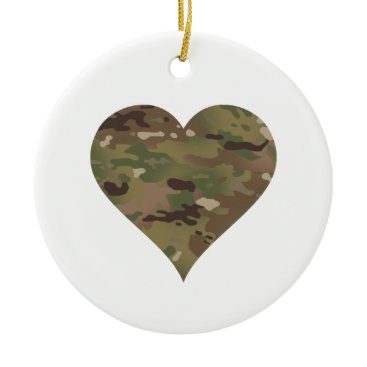 Woodland Camouflage I Heart Ceramic Ornament