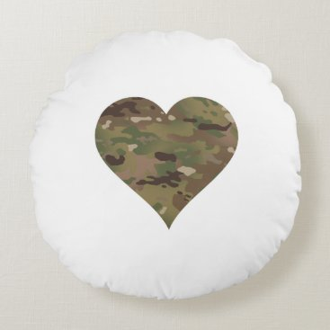 Woodland Camouflage I Heart Round Pillow