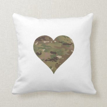 Woodland Camouflage I Heart Throw Pillow