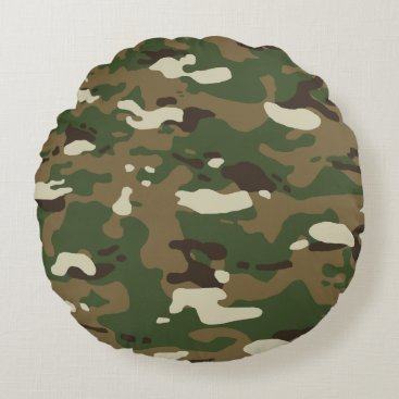 Woodland Camouflage II Round Pillow