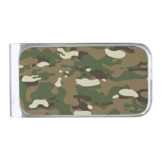 Woodland Camouflage II Silver Finish Money Clip