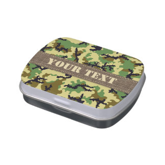 Woodland camouflage jelly belly tin