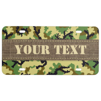 Woodland camouflage license plate